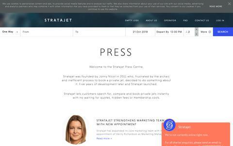Screenshot of Press Page stratajet.com - Media Centre & Press Releases | Stratajet - captured Oct. 20, 2018