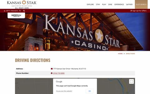 Screenshot of Maps & Directions Page kansasstarcasino.com - Driving Directions To Kansas Star Casino |  KansasStarCasino.com - captured Sept. 20, 2018