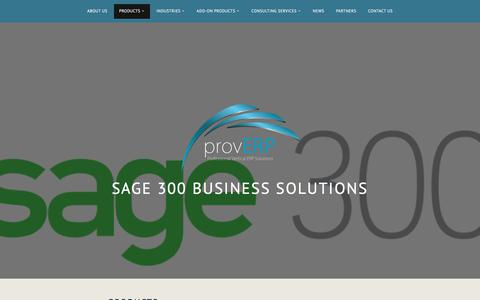 Screenshot of Products Page wordpress.com - Products – Sage 300 Business Solutions - captured July 24, 2018