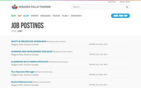 Screenshot of niagarafallstourism.com - Job Postings - Jobs | Niagara Falls Tourism - captured Oct. 6, 2015