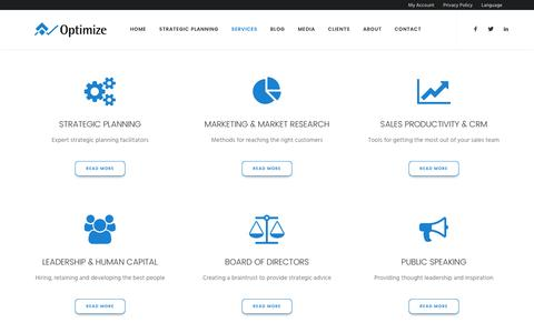 Screenshot of Services Page optimizeinc.net - Services | Optimize Inc. Strategic Planning Firm - captured Dec. 7, 2016