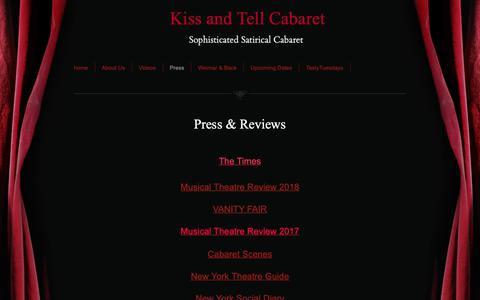 Screenshot of Press Page kissandtellcabaret.com - Kiss and Tell Cabaret - Press - captured Oct. 15, 2018