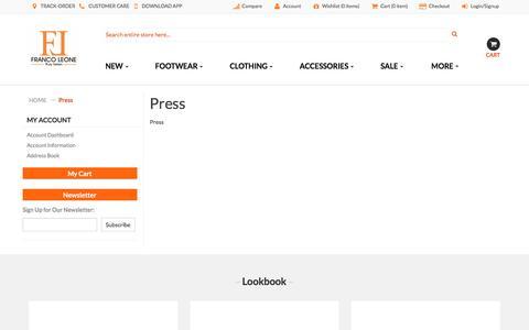 Screenshot of Press Page francoleone.com - Press - captured Sept. 23, 2018