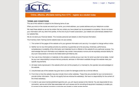 Screenshot of Terms Page inventoryclerktrainingcentre.com - Inventory Clerk Training Centre Terms - captured Sept. 30, 2014