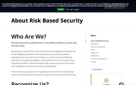 Screenshot of About Page riskbasedsecurity.com - About Risk Based Security – RBS - captured July 18, 2019