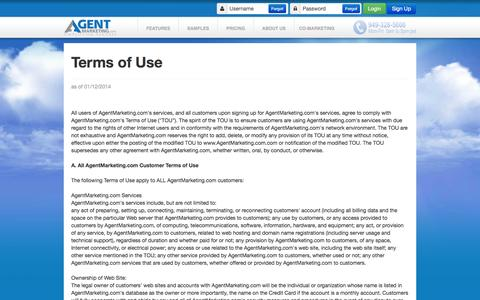 Screenshot of Terms Page epropertysites.com - Single Property Websites - Terms of Service - captured Nov. 4, 2014