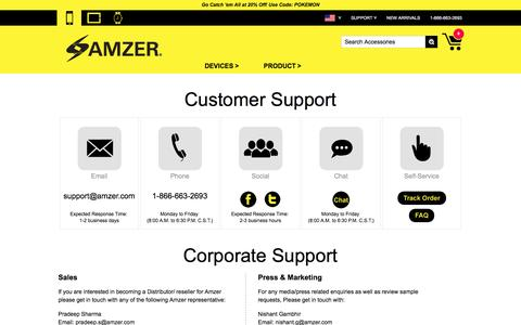 Screenshot of Contact Page amzer.com - Amzer | Customer Support and Corporate Contacts - captured July 25, 2016