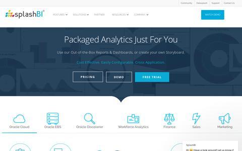 Screenshot of Home Page splashbi.com - Data Reporting & Analytics Software | BI On Demand | SplashBI - captured July 1, 2019
