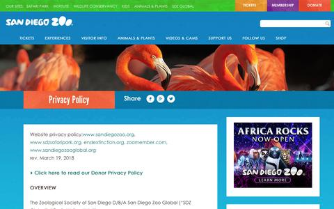 Screenshot of Privacy Page sandiegozoo.org - Privacy Policy | San Diego Zoo - captured Sept. 22, 2018