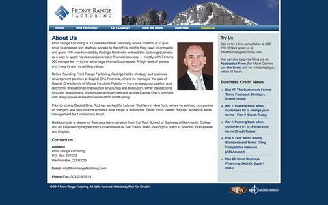 Screenshot of About Page frontrangefactoring.com - About Us | Front Range Factoring - captured Sept. 30, 2014