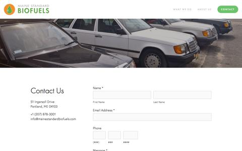 Screenshot of Contact Page mainestandardbiofuels.com - Contact — Maine Standard Biofuels - captured July 13, 2018