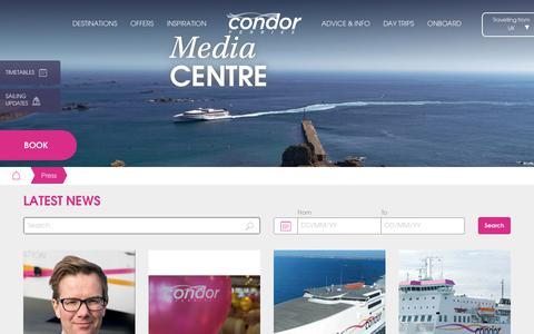 Screenshot of Press Page condorferries.co.uk - Condor Ferries : Media Centre - captured July 21, 2018