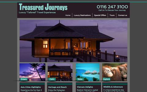 "Screenshot of Home Page treasuredjourneys.co.uk - ""luxury holidays, tailor made tours"" - captured Oct. 8, 2014"