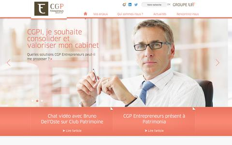 Screenshot of Home Page cgpe.com - Accueil - CGPE - Groupe UFF - captured Oct. 1, 2014