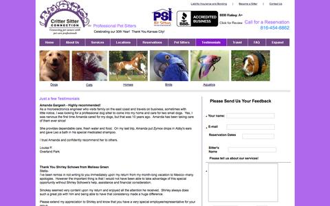 Screenshot of Testimonials Page crittersitterconnection.com - testimonials - captured Jan. 31, 2016