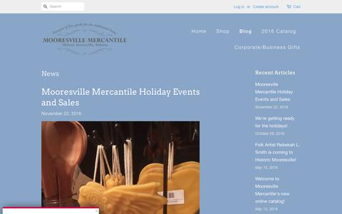 Screenshot of Press Page mooresvillemercantile.com - News – Mooresville Mercantile - captured Nov. 29, 2016