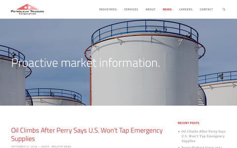 Screenshot of Press Page petroleumtraders.com - News - Petroleum Traders - captured Sept. 28, 2018
