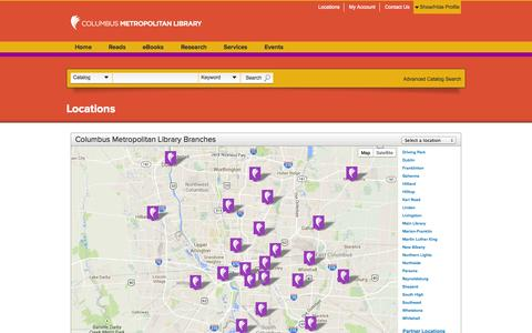 Screenshot of Locations Page columbuslibrary.org - Locations | Columbus Metropolitan Library - captured Oct. 2, 2014