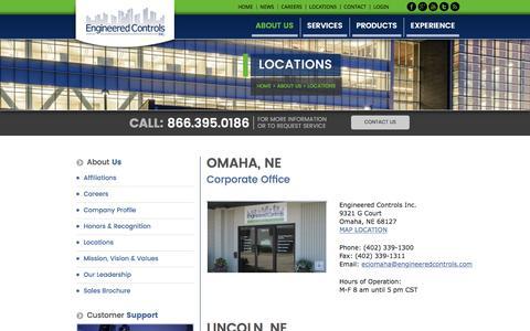 Screenshot of Locations Page engineeredcontrols.com - Locations - Engineered Controls - Building Control Technologies - captured Nov. 8, 2016