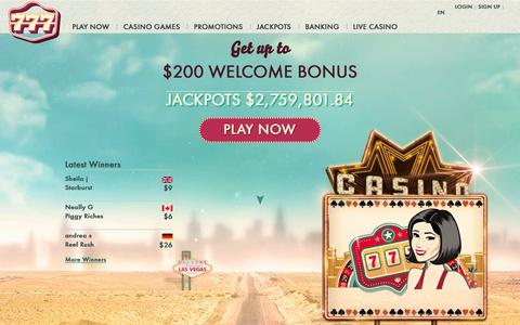 Screenshot of Home Page 777.com - 777 Casino - Play Online Casino Games Now at 777 - captured Jan. 18, 2016