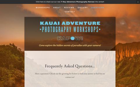 Screenshot of FAQ Page kauaiphotoworkshops.com - Questions — Kauai Adventure Photography Workshops - captured Oct. 15, 2018