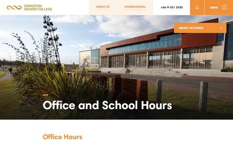 Screenshot of About Page Hours Page ormiston.school.nz - Office and School Hours | Ormiston Senior College - captured March 6, 2018