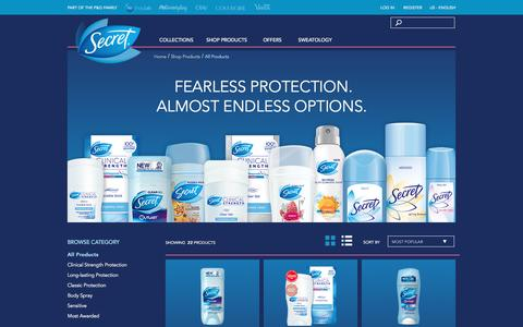 Screenshot of Products Page secret.com - All Secret Products - captured Aug. 22, 2016