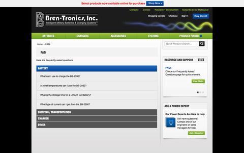Screenshot of FAQ Page bren-tronics.com - FAQ - captured Oct. 5, 2014
