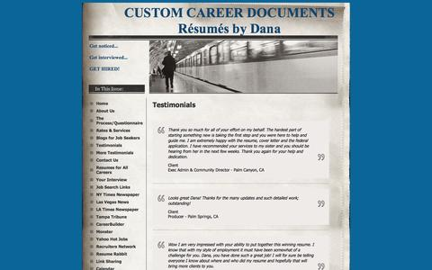 Screenshot of Testimonials Page resumesbydana.com - Testimonials - CUSTOM CAREER DOCUMENTS Résumés by Dana - captured Oct. 3, 2014