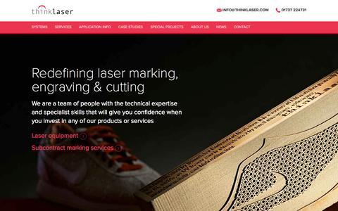 Screenshot of Home Page thinklaser.com - Laser Engraving, Laser Etching, Laser Marking Machines UK | thinklaser : Thinklaser - captured June 19, 2015