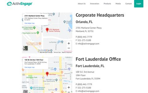 Screenshot of Contact Page activengage.com - Our Offices | ActivEngage - captured Sept. 20, 2019