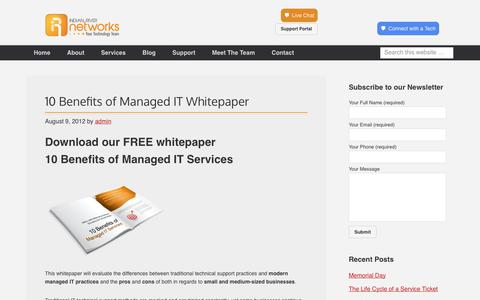 Screenshot of Signup Page indianrivernetworks.com - 10 Benefits of Managed IT Whitepaper - captured June 7, 2017