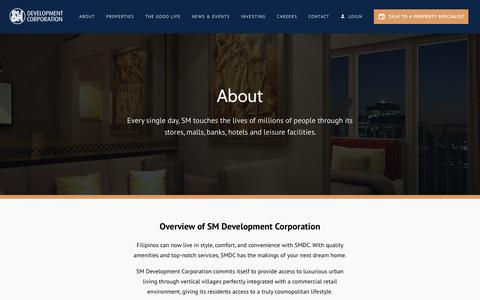 Screenshot of About Page smdc.com - About | SMDC - captured June 17, 2019
