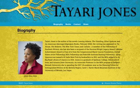 Screenshot of About Page tayarijones.com - Biography – Tayari Jones - captured Dec. 17, 2017