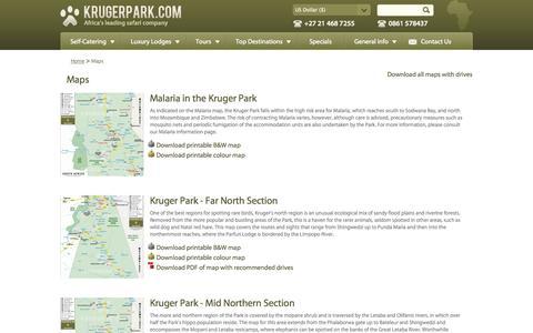 Screenshot of Maps & Directions Page krugerpark.com - Maps| krugerpark.com - captured Sept. 19, 2014