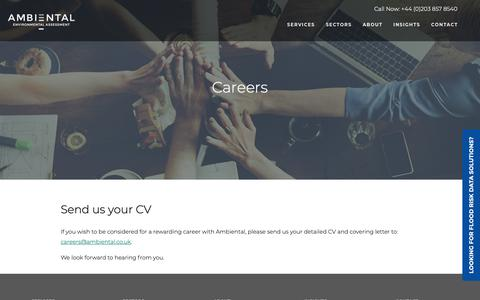 Screenshot of Jobs Page ambiental.co.uk - Careers at Ambiental Environmental Assessment - captured Oct. 3, 2018