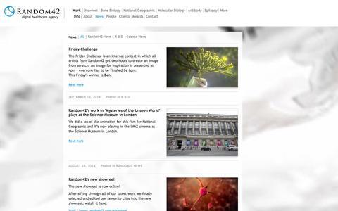 Screenshot of Press Page random42.com - News | Random42 Medical Animation - captured Sept. 19, 2014
