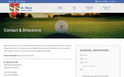 Screenshot of Contact Page Maps & Directions Page stalbansgolfclub.com - St. Albans Golf Club | Public Course | Alexandria, OH - Contact & Directions - captured Jan. 27, 2018
