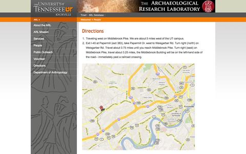 Screenshot of Maps & Directions Page utk.edu - UT Knoxville   College of Arts & Sciences - Archaeological Research Laboratory - captured Sept. 18, 2014