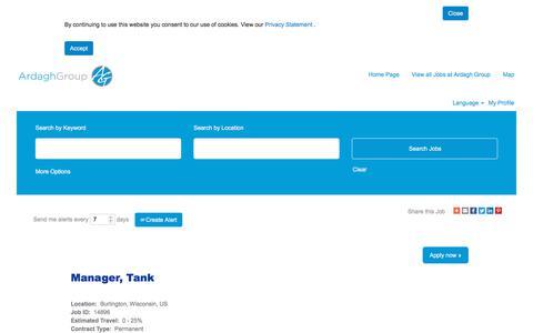 Screenshot of Jobs Page ardaghgroup.com - Manager, Tank - captured Oct. 23, 2019