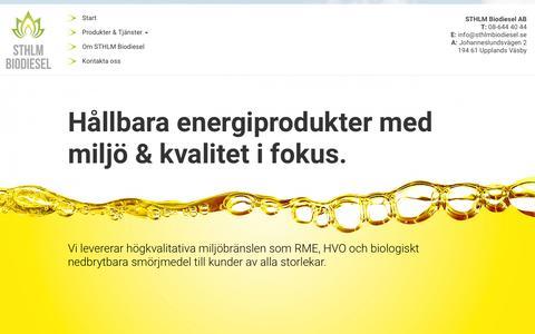 Screenshot of Home Page sthlmbiodiesel.se - Sthlm Biodiesel - captured Dec. 20, 2015