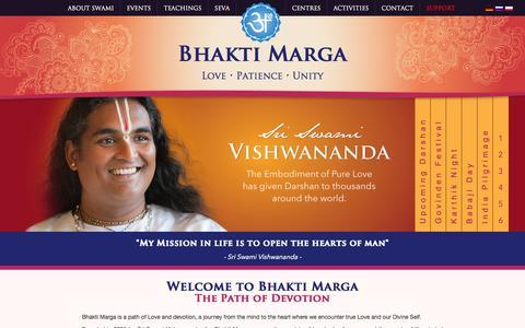 Screenshot of Home Page bhaktimarga.org - Bhakti Marga - captured Oct. 5, 2014