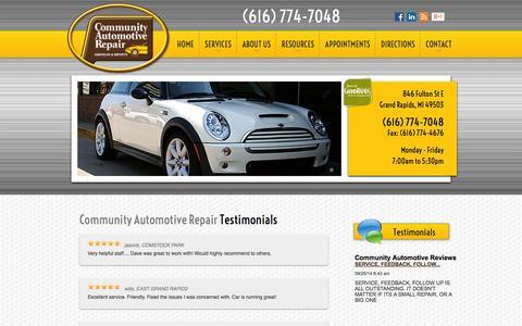 Screenshot of Testimonials Page communityautomotive.com - Testimonials | Auto Repair Grand Rapids, MI | Community Automotive Repair - captured Oct. 8, 2014