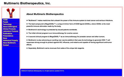 Screenshot of Home Page multimericbio.com - Multimeric Biotherapeutics  ... Unlocking the potential of the TNF SuperFamily Ligands - captured Oct. 7, 2014