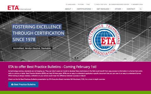 Screenshot of Home Page eta-i.org - ETA International - Welcome - captured Jan. 24, 2016