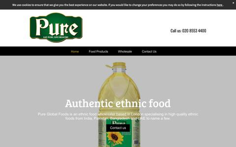 Screenshot of Home Page pureglobalfoods.com - Pure Global Foods in London your ethnic food wholesaler - captured July 24, 2018