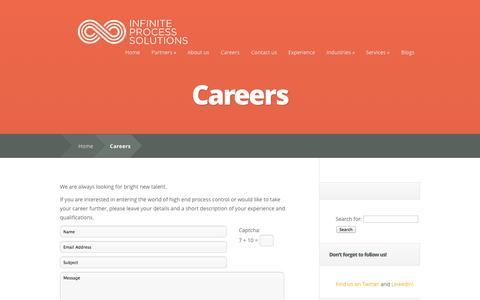 Screenshot of Jobs Page infinite-eng.com - Careers   Infinite Process Solutions - captured Oct. 6, 2014