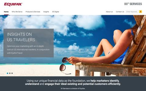 Screenshot of Home Page ixicorp.com - IXI Services, a division of Equifax - captured Sept. 13, 2016