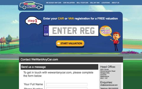 Screenshot of Contact Page wewantanycar.com - Contact WeWantAnyCar.com - Call or email us now - captured Oct. 26, 2014