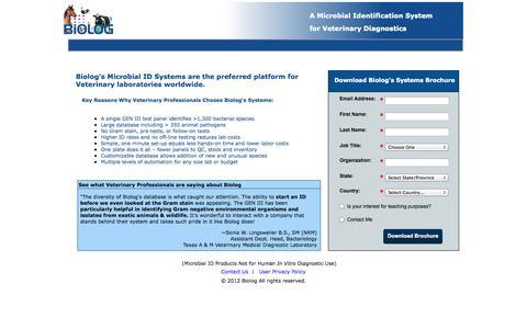 Screenshot of Landing Page biolog.com captured Oct. 27, 2014